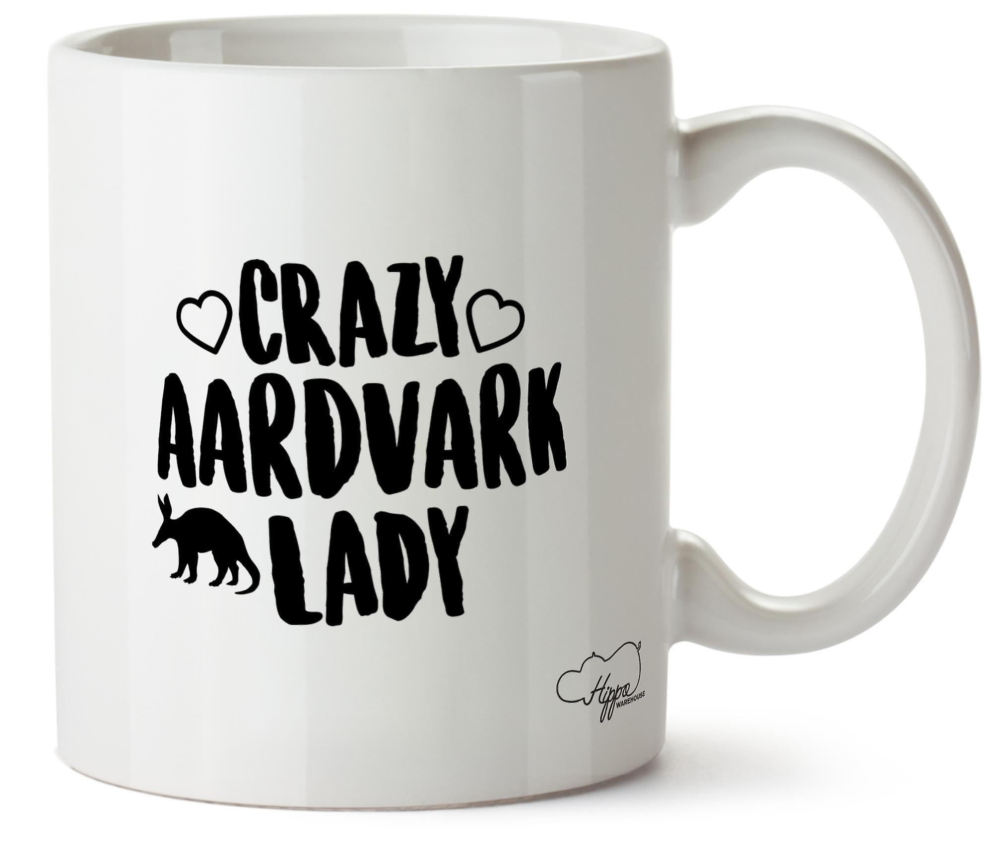 Hippowarehouse Crazy Aardvark леди керамики, белый 10 oz кружка