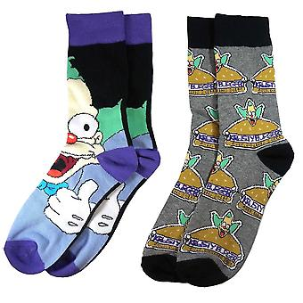 The Simpsons Krusty the Clown Assorted Men's Socks (2 Pairs)  - ONE SIZE