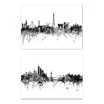 2 Kunst-Posters - Skylines Paris New York - Michael Tompsett