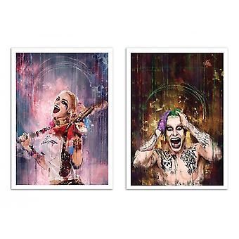2 Art-Posters - Harley Quinn and Joker Duo - Wisesnail
