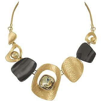 Eternal Collection Tantalising Gold And Gunmetal Metallic Statement Necklace
