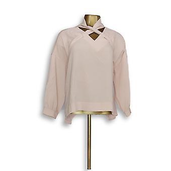 Laurie voelde (XXS) Criss Cross sjaal lange mouw blouse roze A309498