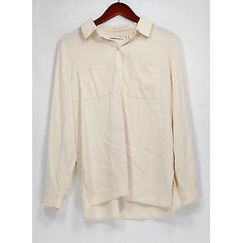 Susan Graver Top Stretch Peachskin Button Vorne Shirt Elfenbein Creme A271652