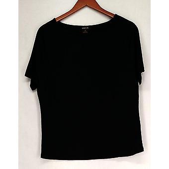Iman T-Shirt Top Slip Into Slim Jet Lightweight Black Womens 460-386