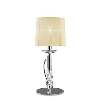 Mantra M3868 Tiffany Table Lamp 1+1 Light E14+G9, Polished Chrome With Cream Shade & Clear Crystal