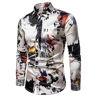 Allthemen Men's Casual Shirt Colorblocked Thin Long Sleeve Shirt