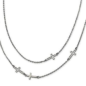 Edelstahl zwei Strang religiösen Glauben Kreuz Halskette 30 Zoll Schmuck Geschenke für Frauen