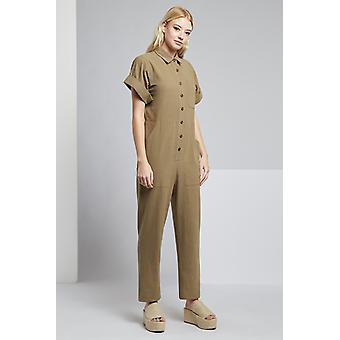 Louche manga curta Leno caldeira terno Khaki