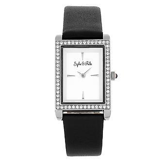 Sophie and Freda Wilmington Leather-Band Watch w/Swarovski Crystals - Black
