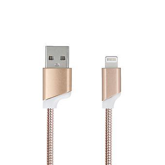 Forever Zinc 2 Amp Lightning kabel för iPhone iPad iPod -Guld