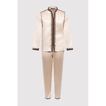 Jabador riad long sleeve tunic top and trouser two-piece men's satin co-ord set in beige