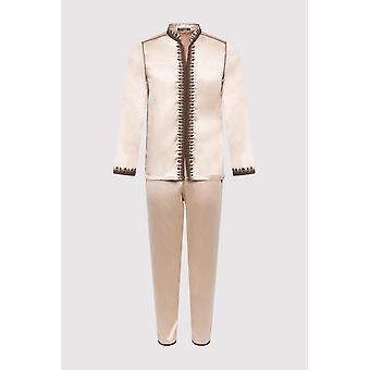 Jabador Riad langermet tunika topp og bukse todelt menn ' s satin co-ord satt i beige