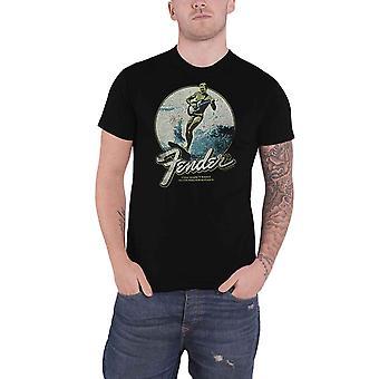 Fender T Shirt Surfer Distressed Vintage Logo new Official Mens Black