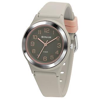SINAR ungdom Watch Armbåndse analog Quartz pige silikonebånd XB-48-5 grå pink