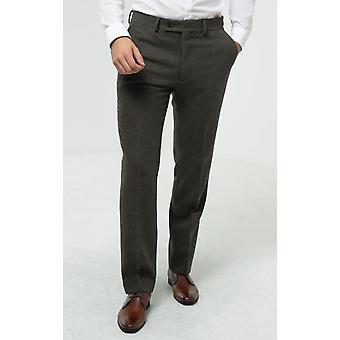 Dobell Herre grøn flannel Suit bukser regelmæssig pasform