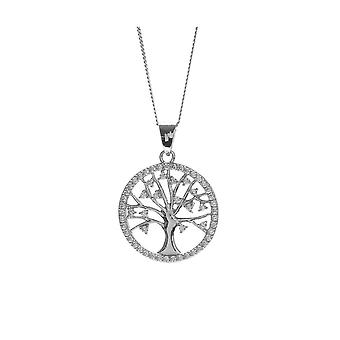 Eternity Sterling Silver Rhodium Plaqué Round Cubic Zirconia Tree Of Life Pendentif and 18-apos;