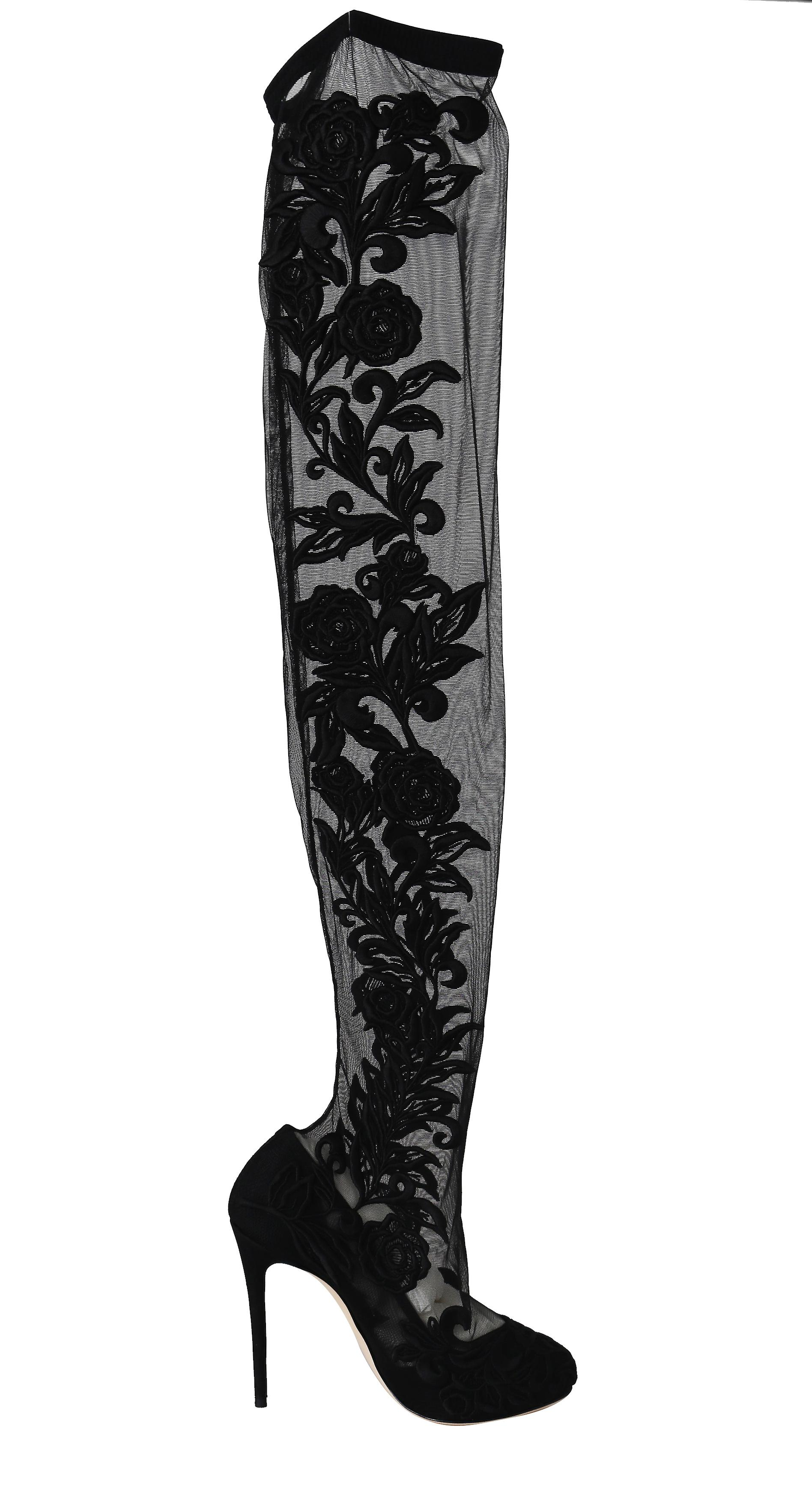 Black Floral Lace Over-Knee Booties Heels