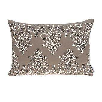 "20"" x 6"" x 14"" Traditional Tan Pillow Cover With Down Insert"