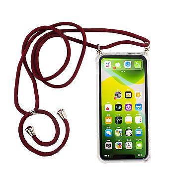 Catena di telefoni per Apple iPhone 11 Pro Max - Custodia collana smartphone con banda - Cord con custodia per appendere in rosso