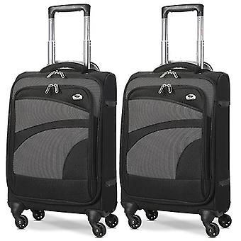 Aerolite (47x35x20cm) lightweight soft shell cabin hand luggage (x2 set) | 4 wheels
