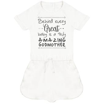 Behind Every Great Baby Is A Truly Amazing GodMother Baby Playsuit