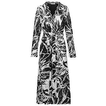 Feraud 3191230-11890 Women's Couture Black Ivory Pattern Robe Loungewear Bath Dressing Gown