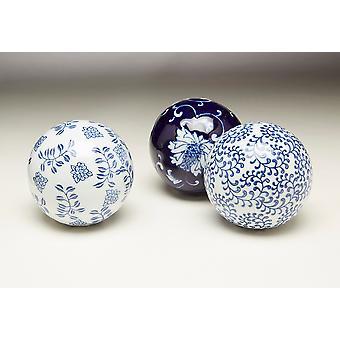 AA importerende 59814 blå og hvid porcelænskugler - sæt af 3
