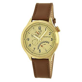 Morphic M44 Series Dual-Time Leather-Band Watch w/ Retrograde Date - Gold/Brown