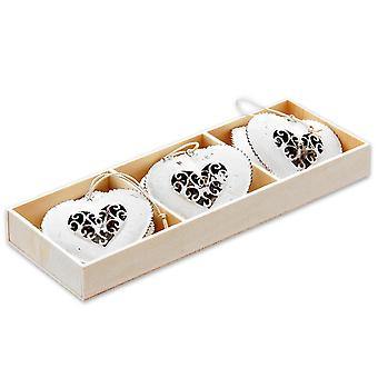 Decorative heart metal -Antic Heart- antique white, made of metal, set of 6, with sisa balm for hanging.