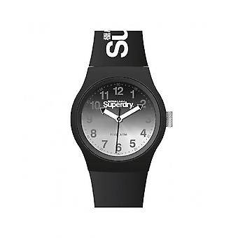 Superdry Watch SYG198EB - Urban Laser Round Case in black plastic dial d grad black and grey Black silicone bracelet