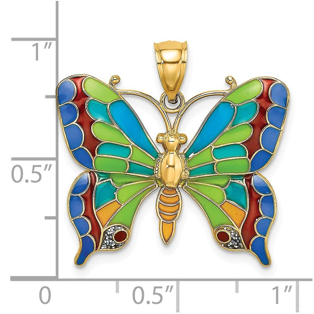 14k Gold Stained Glass Butterfly Angel Wings Mutli color Charm Pendant Necklace Jewelry Gifts for Women