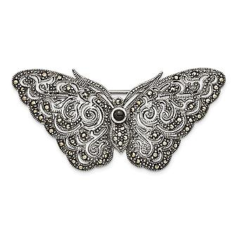 925 Sterling Silver Marcasite Butterfly Angel Wings Pin Jewelry Gifts for Women