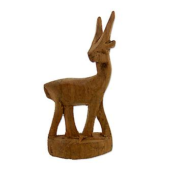 Hand Carved Wooden Antelope Figurine – 7 cm