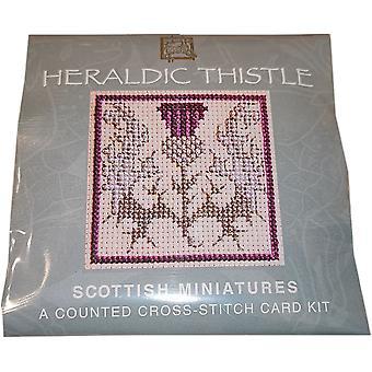 Tekstiili perintö laskettu risti pisto heraldinen Thistle Pienoiskortti