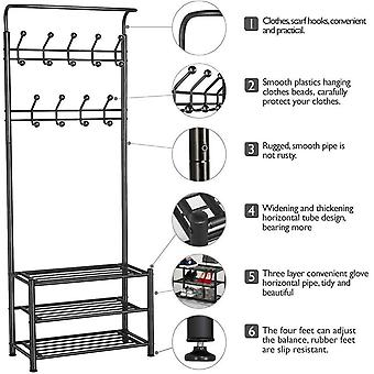18 Hooks Metal Clothes/Hat Hanger Tree Hall Stand Coats Rack/Stand with Shoes Storage Shelves Black