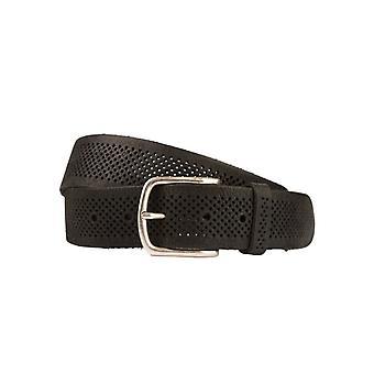 Schwarzes Leder Damen Gürtel mit Löchern Struktur