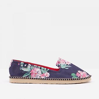 Joules Flipadrille Damen Canvas Schuhe Marine Floral