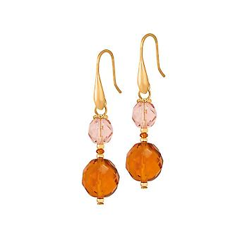 Eternal Collection Luisa Amber And Pink Crystal Gold Tone Drop Pierced Earrings
