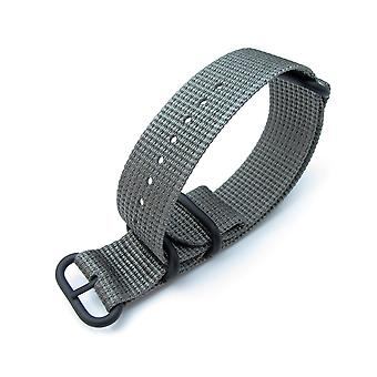 Strapcode n.a.t.o watch strap miltat 20mm, 22mm or 26mm 3 rings zulu military watch strap 3d woven nylon armband - grey, pvd black hardware