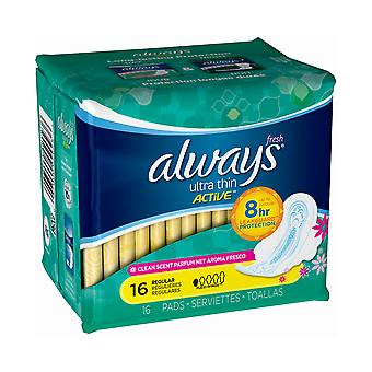 Always Ultra Thin Active Pads, Regular, 16 Pads
