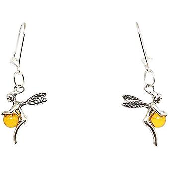 The Olivia Collection Sterling Silver Fairy Amber Drop Earrings