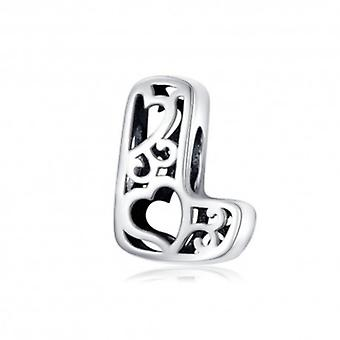 Sterling Silver Alphabet Charm With Hearts Letter L - 6266