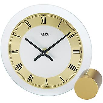AMS 168 table clock quartz golden round modern metal with glass Roman numerals