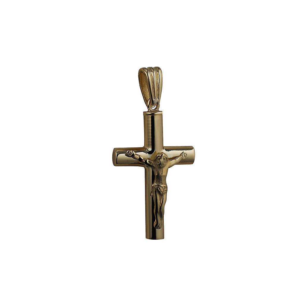 9ct Gold 32x18x4mm handmade Memorial Crucifix Cross