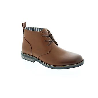Robert Wayne Minos Mens Brown Leather Mid Top Lace Up Chukkas Boots
