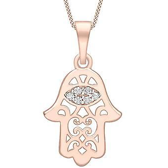 KJ Beckett filigran Hamsa Cubic Zirconia hängande - Rose Guld/Silver