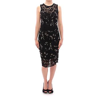 Dolce & Gabbana Black Floral Lace Crystal Embedded Dress GSD12635-1