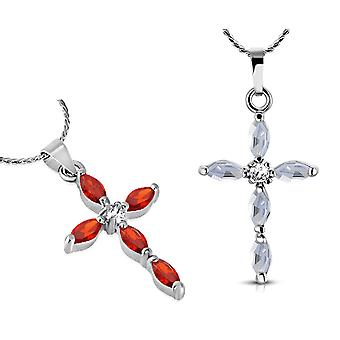 Faith small cubic zirconia cross pendant necklace