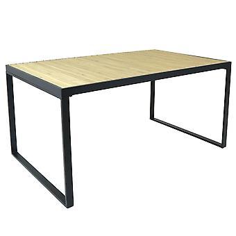Charles Bentley industriell stil stil polyträ och stark extrudering aluminiumbord i svart L147 x W90 x H70cm