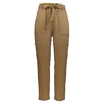 Anybody Women's Pants w/ Elastic Waistband & Pockets Brown A367666